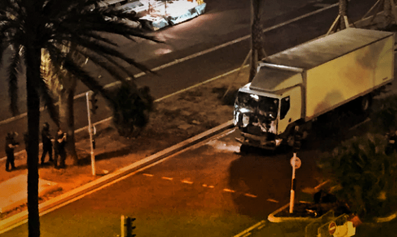 The truck, after the attack