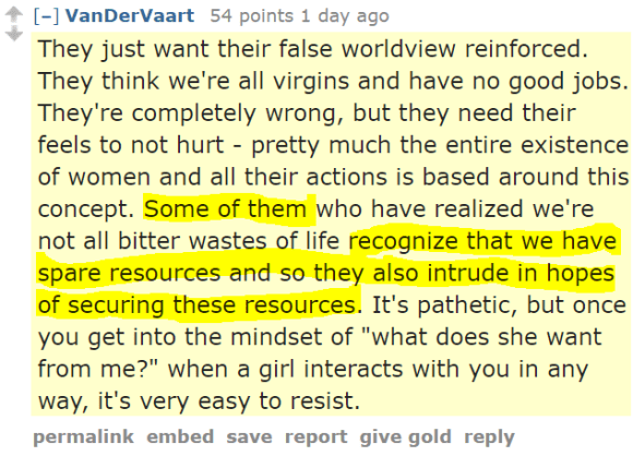 "VanDerVaart 54 points 1 day ago They just want their false worldview reinforced. They think we're all virgins and have no good jobs. They're completely wrong, but they need their feels to not hurt - pretty much the entire existence of women and all their actions is based around this concept. Some of them who have realized we're not all bitter wastes of life recognize that we have spare resources and so they also intrude in hopes of securing these resources. It's pathetic, but once you get into the mindset of ""what does she want from me?"" when a girl interacts with you in any way, it's very easy to resist."