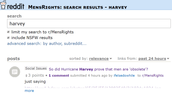 So did Hurricane Harvey prove that men are 'obsolete'? 3 points 1 comment submitted 4 hours ago by ifelsedowhile to r/MensRights just saying