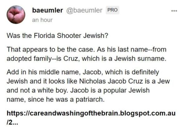 baeumler @baeumler PRO an hour Was the Florida Shooter Jewish? That appears to be the case. As his last name--from adopted family--is Cruz, which is a Jewish surname. Add in his middle name, Jacob, which is definitely Jewish and it looks like Nicholas Jacob Cruz is a Jew and not a white boy. Jacob is a popular Jewish name, since he was a patriarch.
