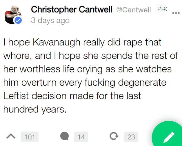 I hope Kavanaugh really did rape that whore, and I hope she spends the rest of her worthless life crying as she watches him overturn every fucking degenerate Leftist decision made for the last hundred years.