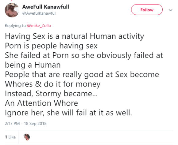 AweFull Kanawfull ‏ @AwefulKanawful Follow Follow @AwefulKanawful More Replying to @mike_Zollo Having Sex is a natural Human activity Porn is people having sex She failed at Porn so she obviously failed at being a Human People that are really good at Sex become Whores & do it for money Instead, Stormy became... An Attention Whore Ignore her, she will fail at it as well.