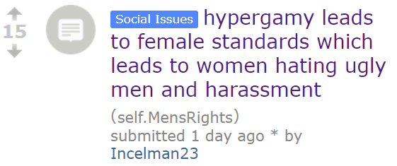 hypergamy leads to female standards which leads to women hating ugly men and harassment