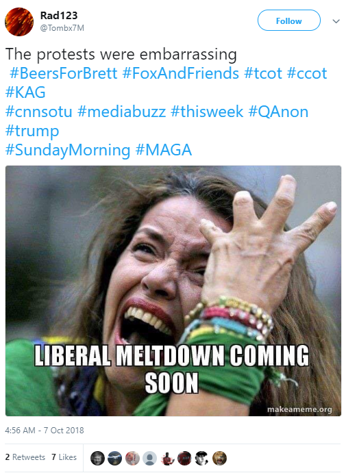 Rad123 ‏ @Tombx7M Follow Follow @Tombx7M More The protests were embarrassing #BeersForBrett #FoxAndFriends #tcot #ccot #KAG #cnnsotu #mediabuzz #thisweek #QAnon #trump #SundayMorning #MAGA