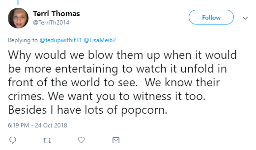 Terri Thomas @TerriTh2014  More Replying to @fedupwithit31 @LisaMei62 Why would we blow them up when it would be more entertaining to watch it unfold in front of the world to see. We know their crimes. We want you to witness it too. Besides I have lots of popcorn.