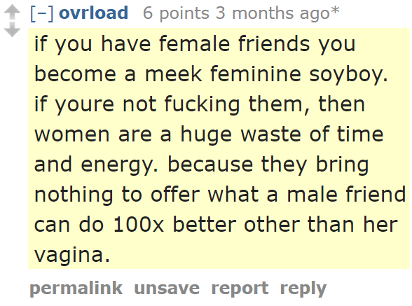 ovrload 6 points 3 months ago*  if you have female friends you become a meek feminine soyboy. if youre not fucking them, then women are a huge waste of time and energy. because they bring nothing to offer what a male friend can do 100x better other than her vagina.