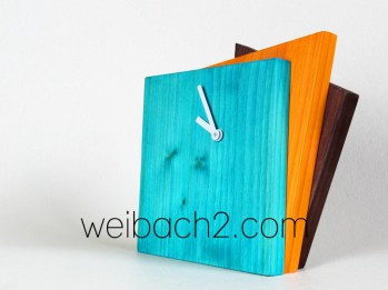 WEIBACH2 - Kantige Holz-Uhr / Edged wooden clock / 2