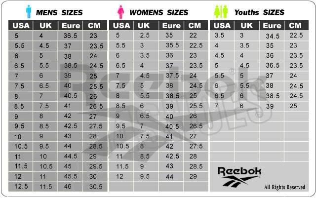 reebok size conversion shoes,Free