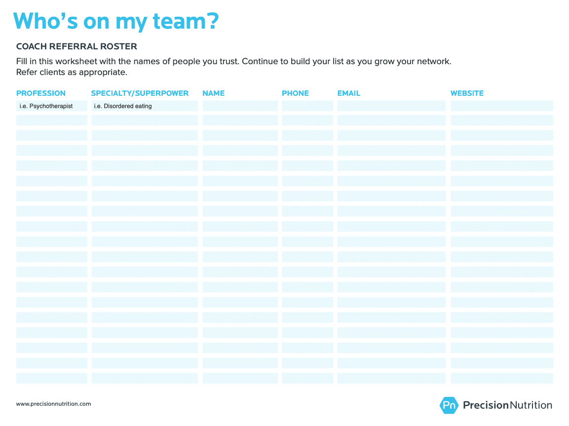 whos on my team referal roster worksheet 1