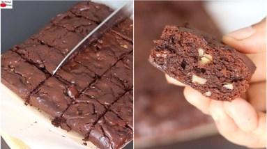 Easy Brownie Recipe (No Sugar/No Maida) How To Make Brownie At Home - Skinny Recipes
