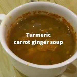 Anti-inflammatory vegan carrot turmeric ginger soup for weight loss