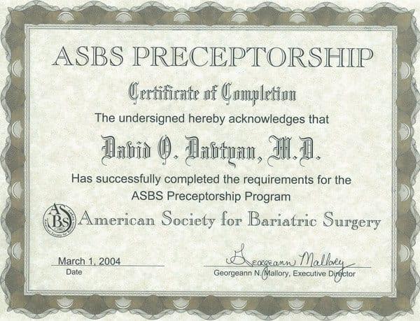 Dr. David G. Davtyan's 2004 ASBS Preceptorship Program Completion Certificate