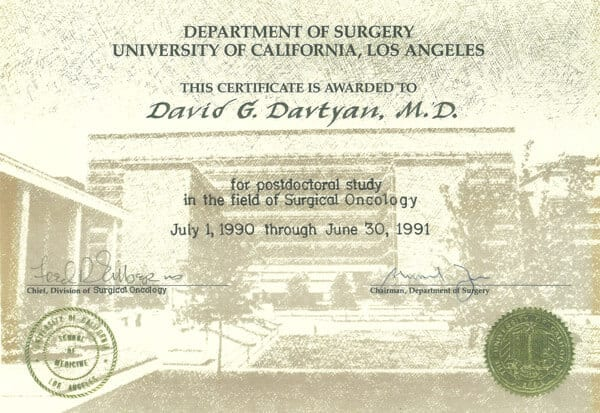 David G. Davtyan's 1990 Certificate Award For Postdoctoral Study In The Field Of Surgical Oncology UCLA
