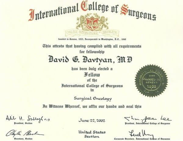 Dr. David Davtyan's 2002 International College of Surgeons Fellow In Surgical Oncology Certificate