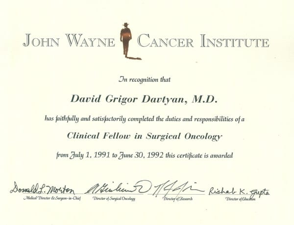 Dr. David G. Davtyan's 1992 John Wayne Cancer Institute Clinical Fellow In Surgical Oncology Completion Certificate