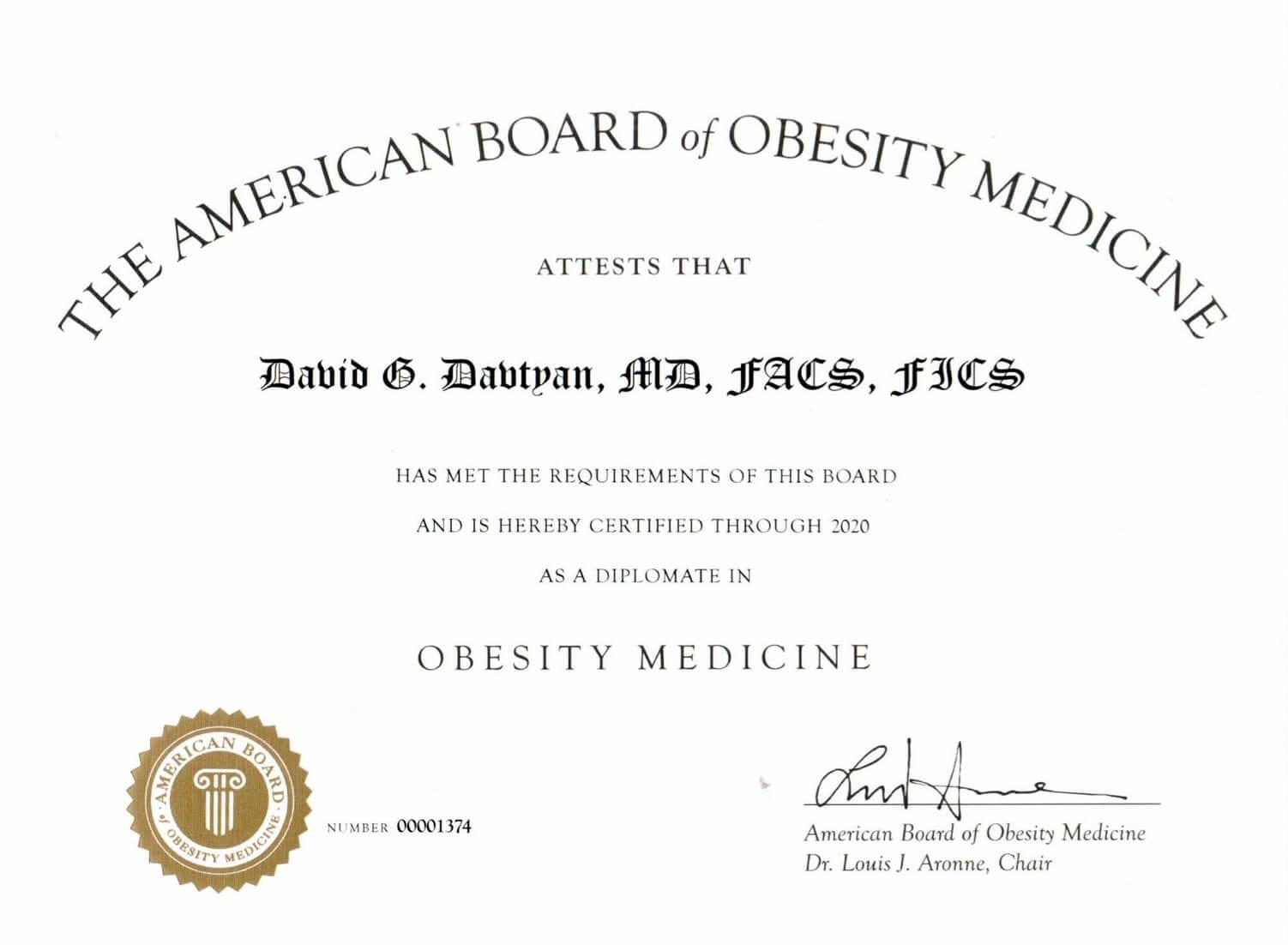 Dr. David G. Davtyan's 2019 American Board of Obesity Medicine Diplomate Certificate