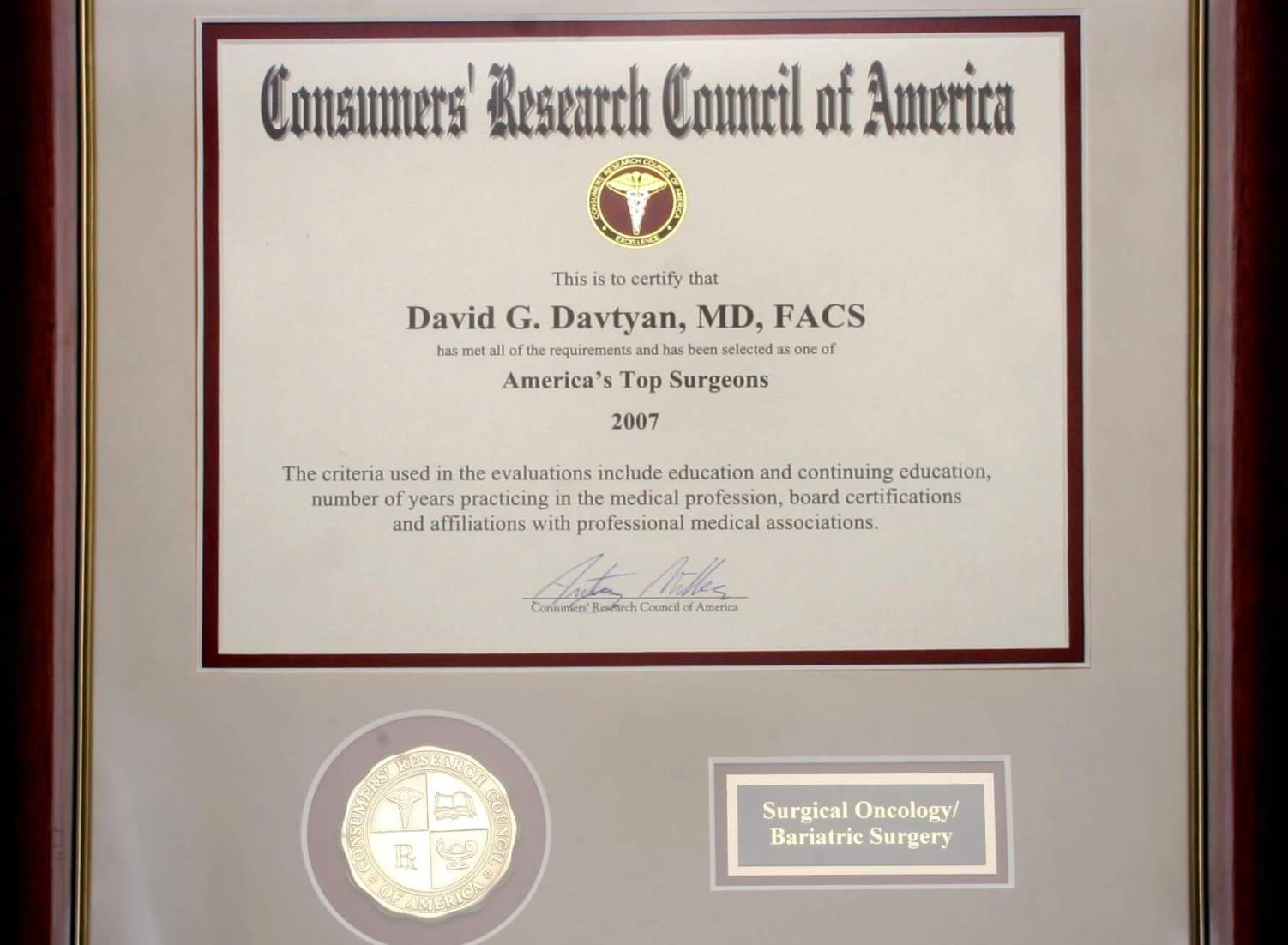 Dr. David Davtyan America's Top Doctor Consumer's Research Council Of America Bariatric Surgery Surgical Oncology Los Angeles Beverly Hills Glendale Rancho Cucamonga