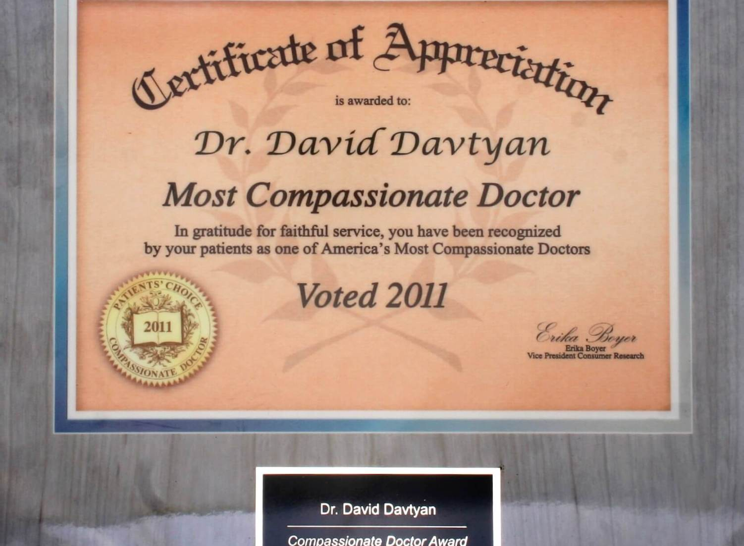 Dr. David Davtyan Most Compassionate Doctor Award Bariatric Surgeon Los Angeles Beverly Hills Glendale Rancho Cucamonga