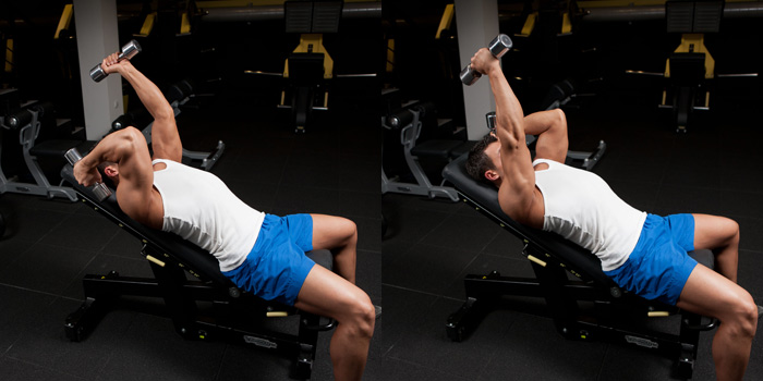 Alternating Incline Dumbbell Triceps Extension Weight