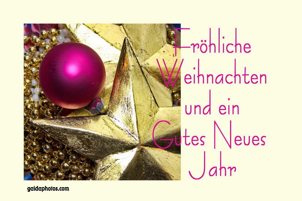 kostenlose fröhliche Weihnachten Karte Stern, Kugel lila