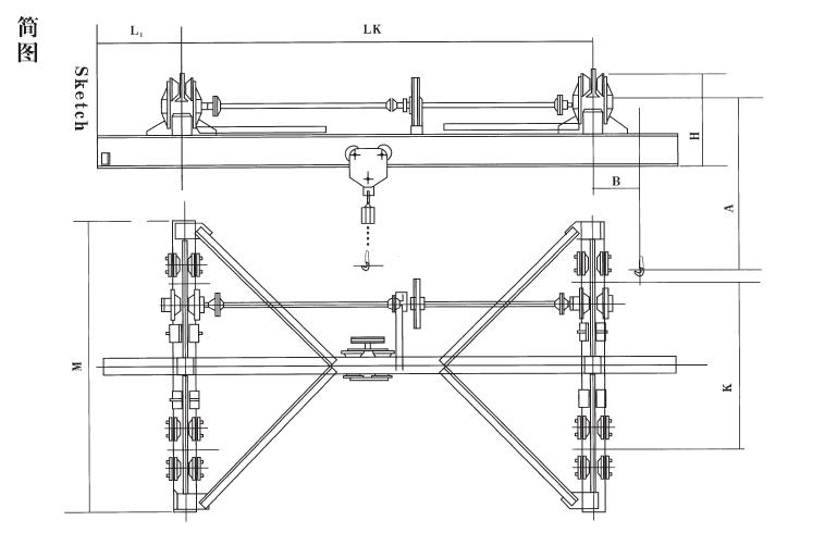 SLX type manual single beam underhung crane-Single girder