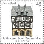 Das Rathaus von Alsfeld auf einer 45 Cent Briefmarke aus dem Jahr 2011, Darstellung gemeinfrei, da amtliches Werk