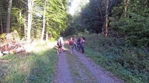 Übungen aus der Krankengymnastik ergänzen die Wanderung durch den heimischen Wald