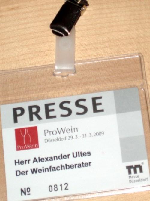 Presseausweis: Weinfachberater   der Ultes