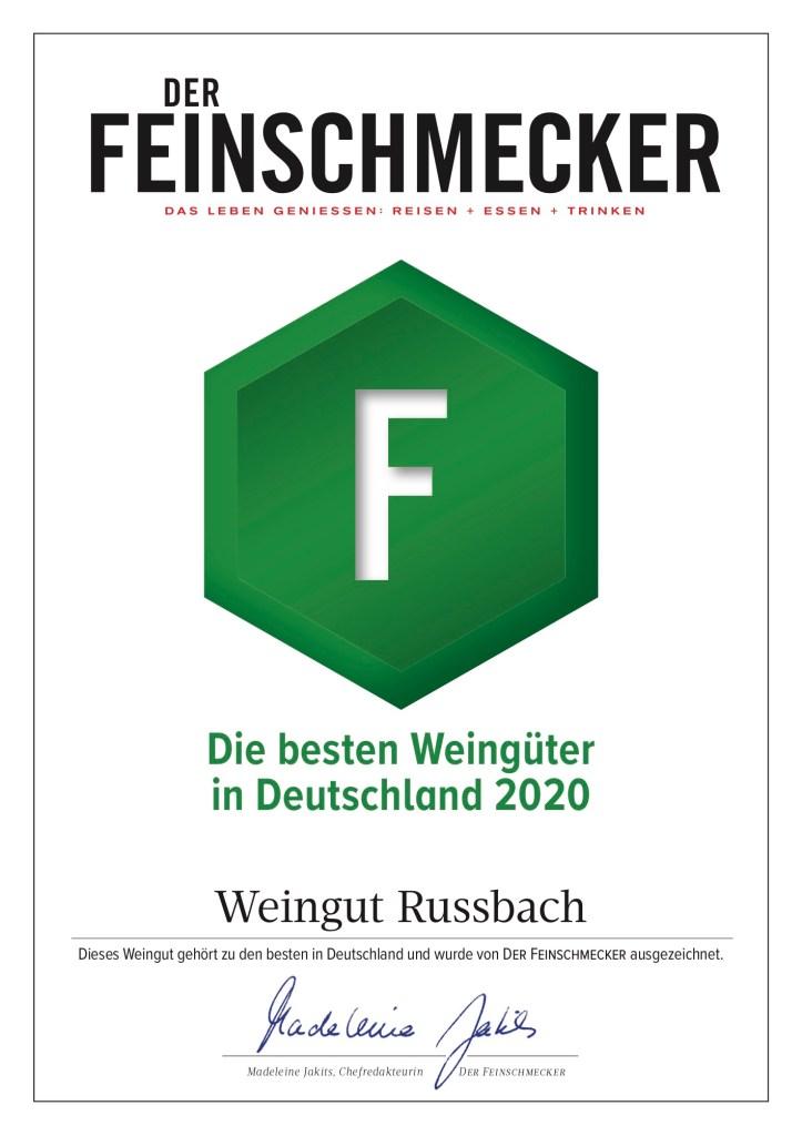 Urkunde des FEINSCHMECKER 2020 für das Weingut Russbach, das zu den besten Weingütern Deutschlands gehört.