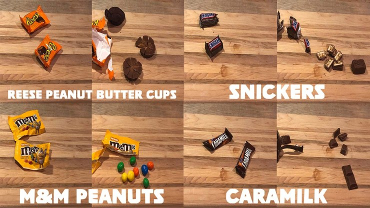 Halloween Candy Snickers Caramilk Reese Peanut Butter Cups M&M Peanuts