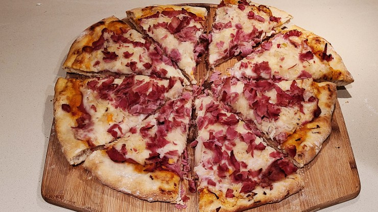 Reuben Pizza Sliced