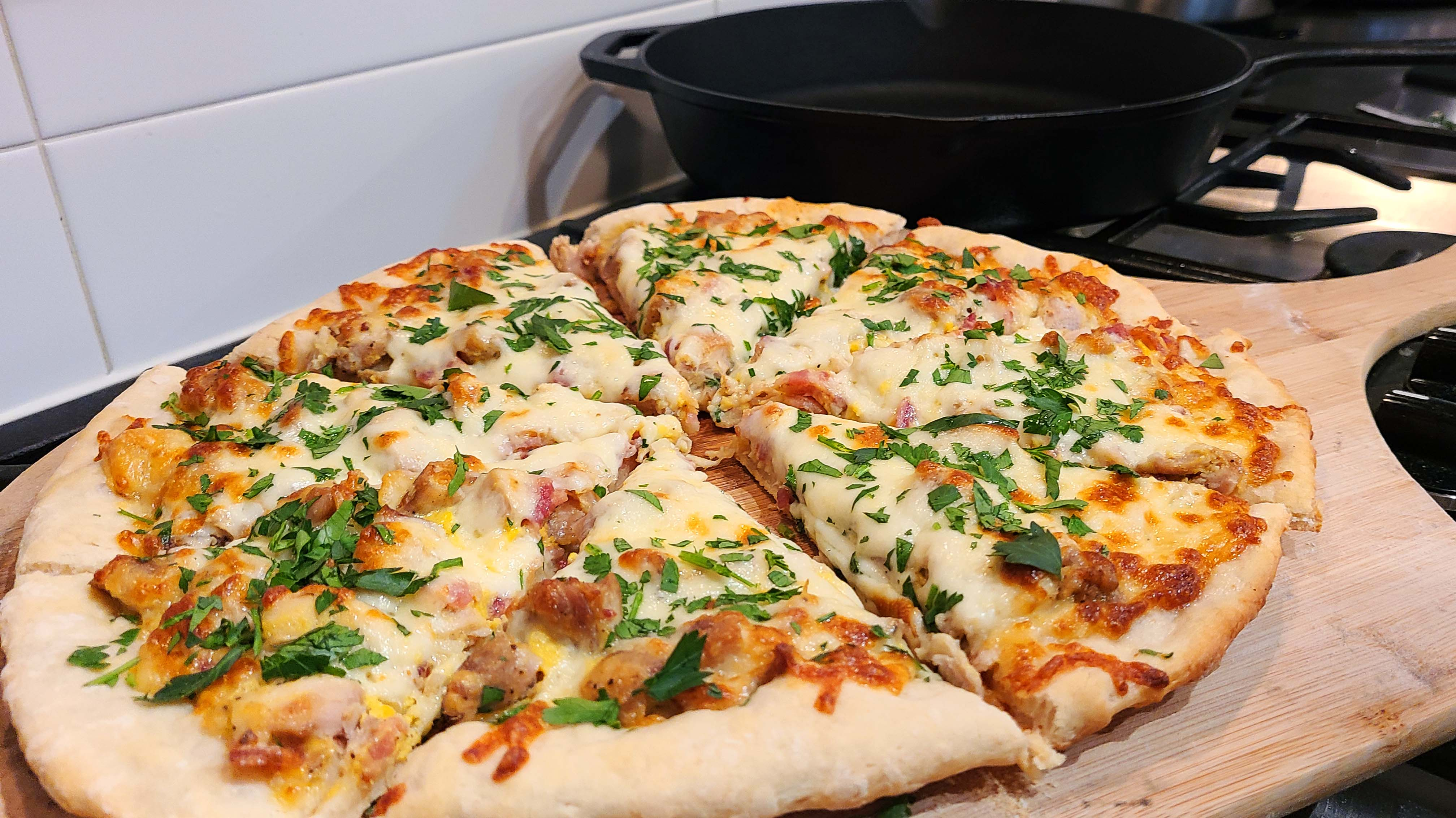 Chicken Carbonara Pizza with Bacon Recipe