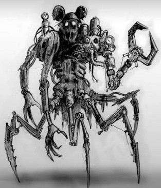 Epic Mickey Concept Art, If Mickey Mouse was crossed with a robotic arachnid. Terrifying