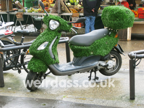 scooter/bike with grass on