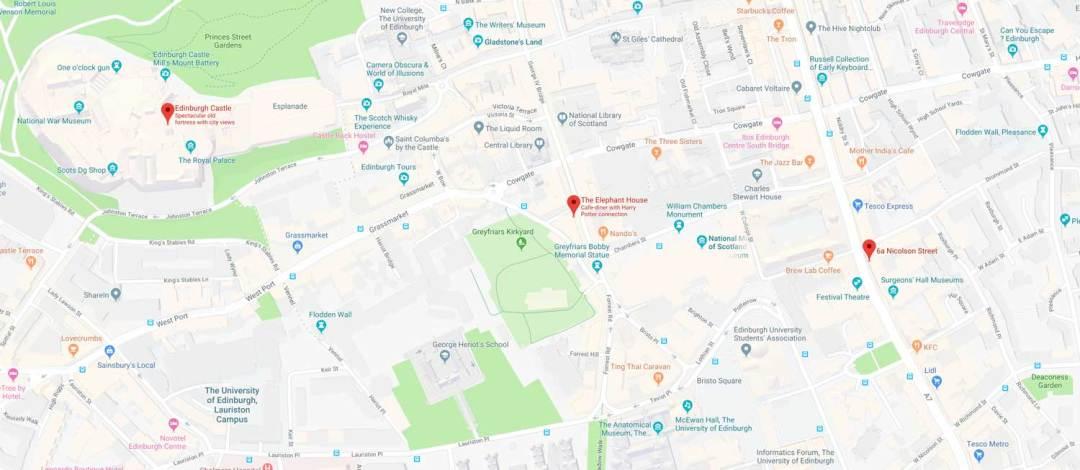 Where JK Rowling Wrote Harry Potter - Edinburgh Map