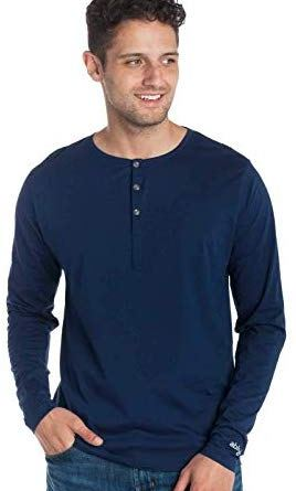 Ably Apparel Frank Long Sleeve Cotton Henley | Repels Liquids, Stains, and Odors