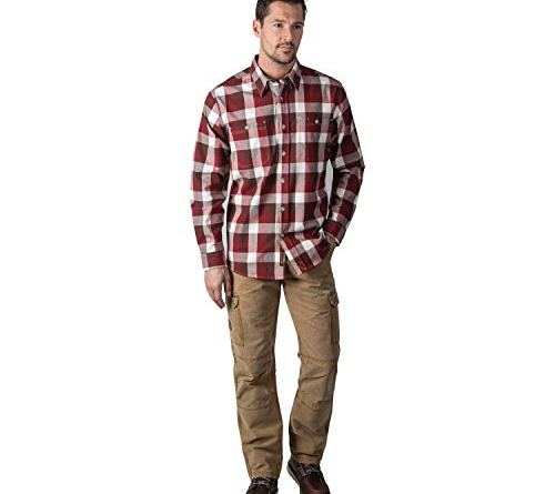 Walls Men's Longhorn Long Sleeve Midweight Stretch Flannel Shirt