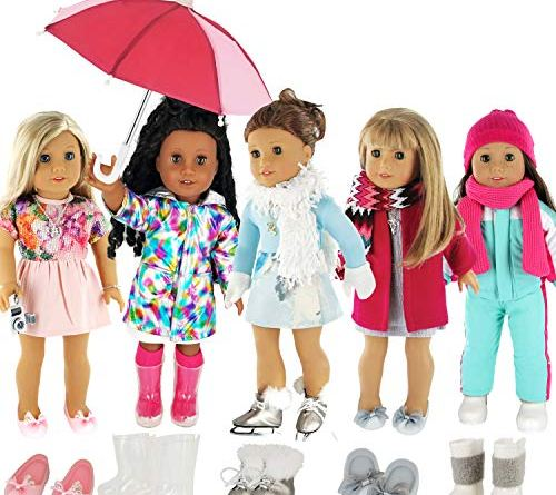 "PZAS Toys Doll Clothes Fits American Girl Doll Clothes- 5 Complete Outfits fits 18"" Dolls with Accessories, Boots, Shoes, and Umbrella Included!"