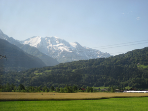 The view of the Alps on the bus from Geneva to Chamonix.