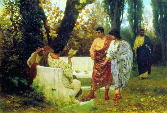 Image: Catullus reading to his friends. Stepan Bakalovich (1857-1936)