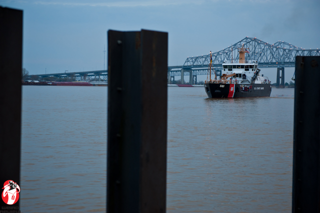 The Coast Guard ship bringing the King of the Rex parade the New Orleans shore - Photo by Captain Brian