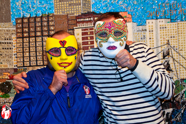 Stephan Wanger and me in our masks - Photo by Erica Fisher