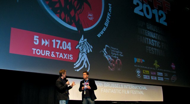 """Yours Truly on stage with Master of Ceremonies Stéphane Everaert introducing """"Pig"""""""