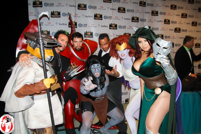 Ryan Green (grey gargoyle sans wings in the middle) with his cosplay team and the judges