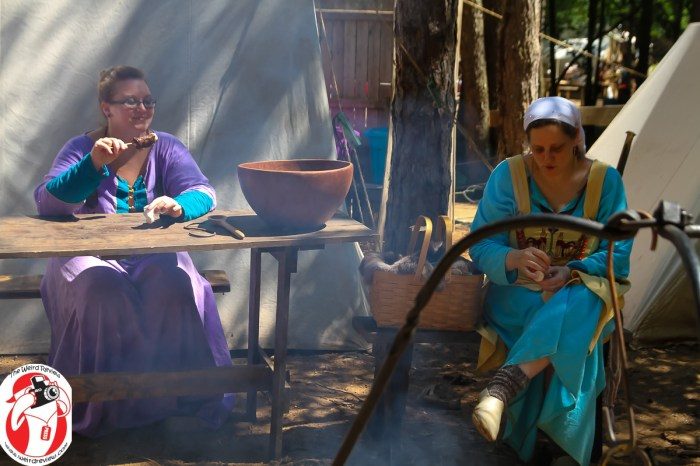 Ladies keeping house in the Norse Village