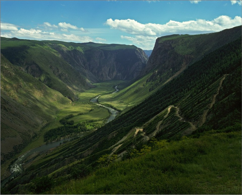 River running through a near perfect valley, The Altay mountains