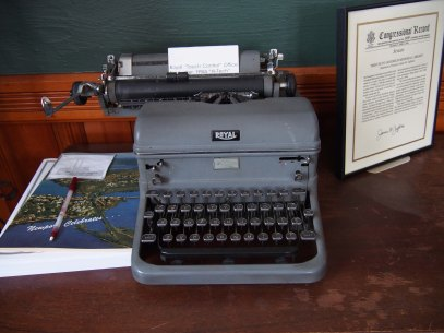 Typewriter in Historical Display in Library