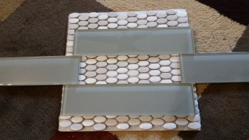 Glass subway tile, with mosaic for wall inserts in shower wall