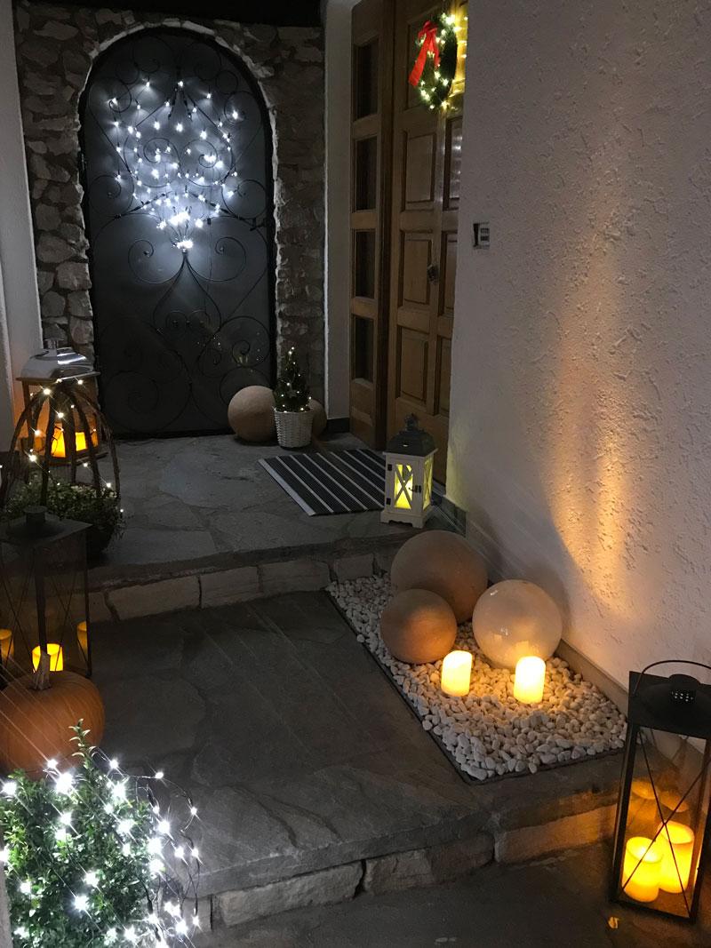 Weihnachtsbeleuchtung Kranz.Weihnachtsbeleuchtung Draussen Weiss Schwarz