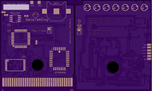 Custom Gameboy flash cart based off of xzakox's mbc emulated cart design, updated with newer components and re routed for use with oshpark, custom pixel art.